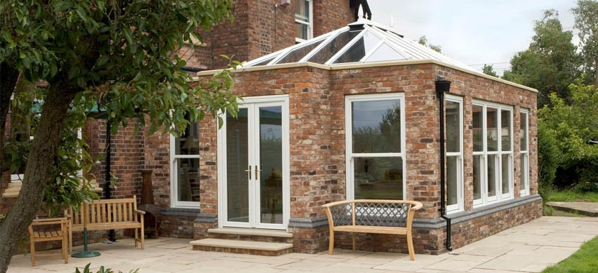 Exterior of Orangery Extension with Brick Pillars